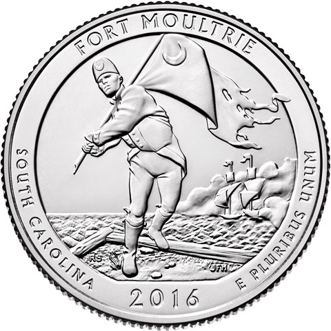 Quarter Dollar 2016 P USA UNC Fort Moultrie