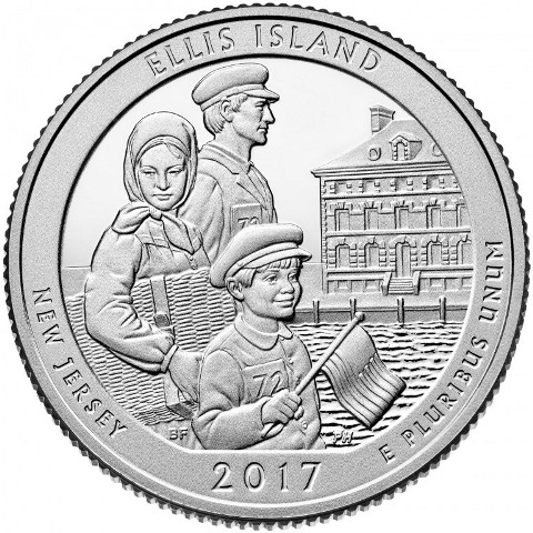 Quarter Dollar 2017 S USA UNC Ellis Island