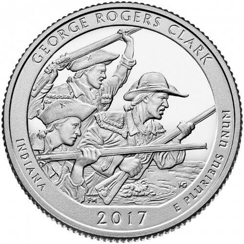 Quarter Dollar 2017 P USA UNC George Rogers Clark National Historical Park
