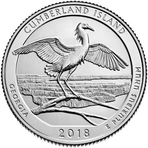 Quarter Dollar 2018 S USA UNC Cumberland Island National Seashore