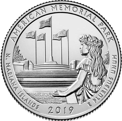 Quarter Dollar 2019 P USA UNC American Memorial Park