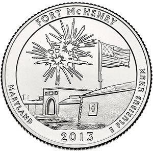 Quarter Dollar 2013 S USA UNC Fort McHenry