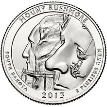 Quarter Dollar 2013 P USA UNC Mount Rushmore