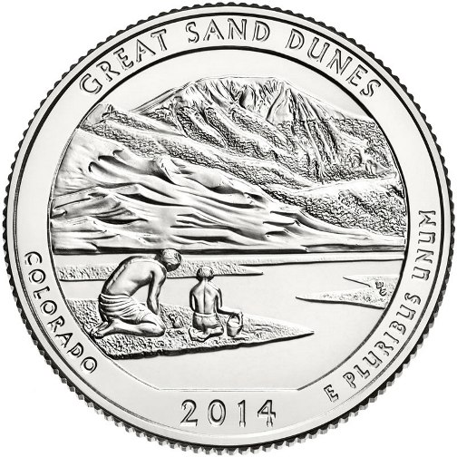 Quarter Dollar 2014 D USA UNC Great Sand Dunes National Park