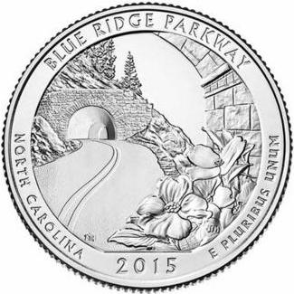 Quarter Dollar 2015 P USA UNC Blue Ridge Parkway