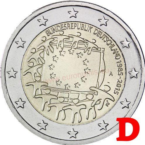 6175714d2 EURO mince | 2 euro 2015 Nemecko D cc.UNC Európska vlajka ...