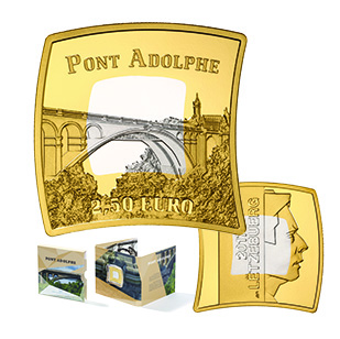 "2,50 euro 2017 Luxembursko PROOF ""ADOLPHE BRIDGE"""