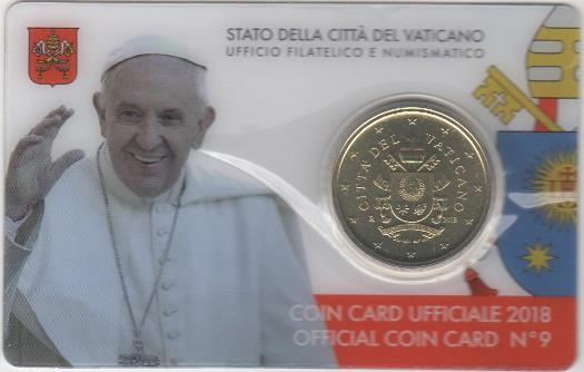 50 Cent 2018 Vatikán UNC Coin card
