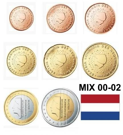 SET MIX 2000-2002 Holandsko 1 Cent - 2 Euro  UNC