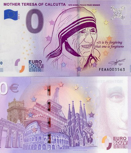 0 euro Souvenir 2019/2 UNC MOTHER TERESA OF CALCUTTA