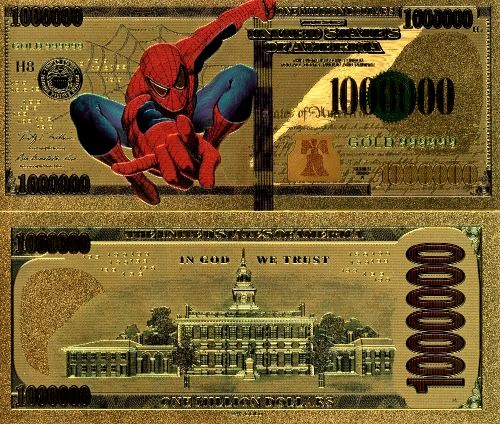 1 000 000 Dollars SPIDERMAN USA (pozlátená bankovka 24 k GOLD)