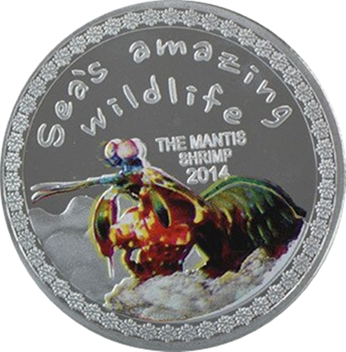 Medaila, replika 5000 Francs 2014 Burundi BU 1 Oz The Manthis shrimp