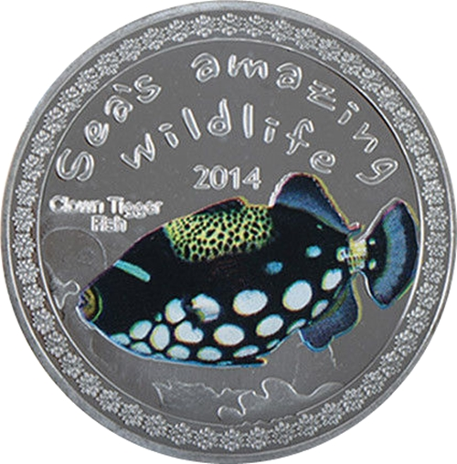 Medaila, replika 5000 Francs 2014 Burundi BU 1 Oz Clown tiggerfish
