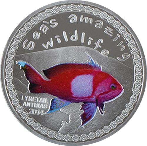 Medaila, replika 5000 Francs 2014 Burundi BU 1 Oz Lyretail anthias