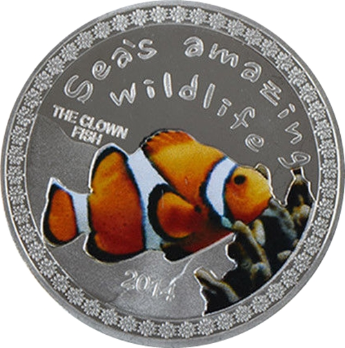 Medaila, replika 5000 Francs 2014 Burundi BU 1 Oz The Clownfish
