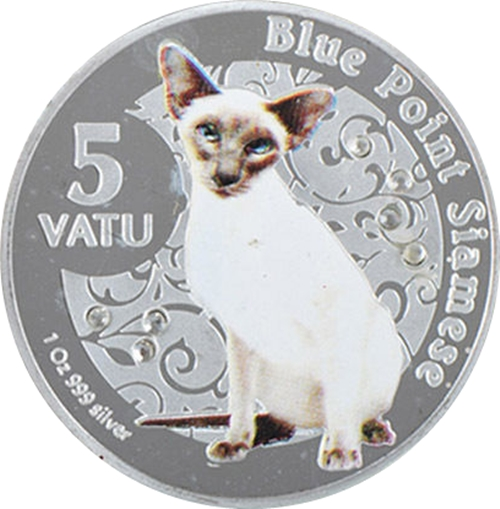 Medaila, replika 5 Vatu 2015 Vanuatu BU 1 Oz Blue point siamese