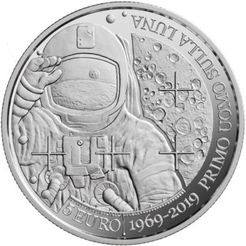 5 euro 2019 San Maríno PROOF Moon landing