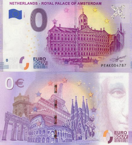 0 euro Souvenir 2019/1 UNC NETHERLANDS - ROYAL PALACE OF AMSTERDAM
