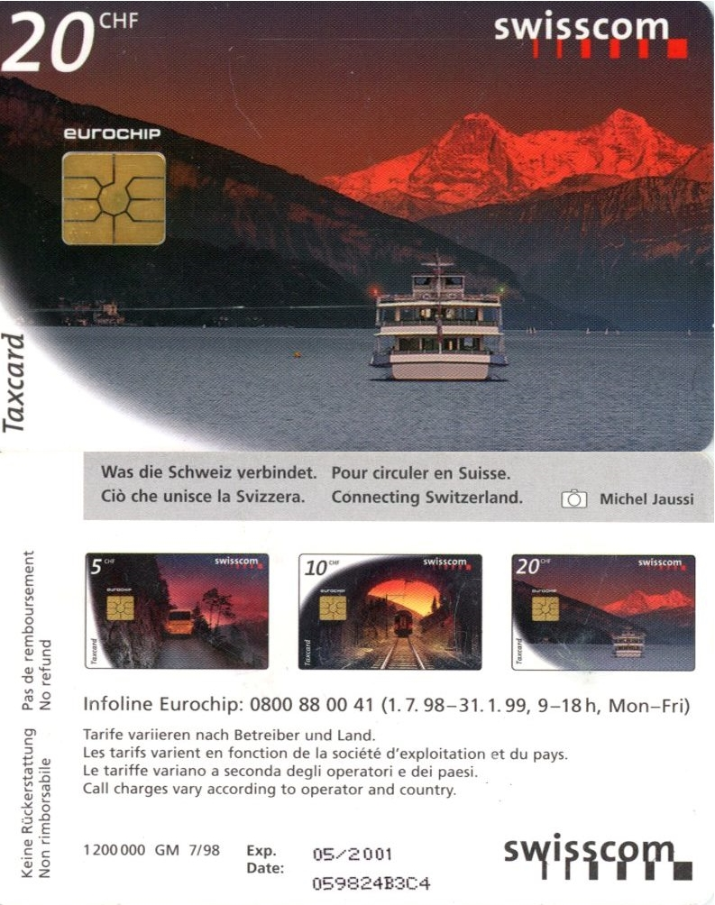 Tel.Karta, 1998, Švajčiarsko, swisscom, Connecting Switzerland 20 CHF (7/98)
