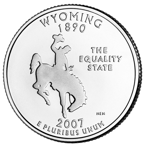 Quarter Dollar 2007 D USA UNC Wyoming
