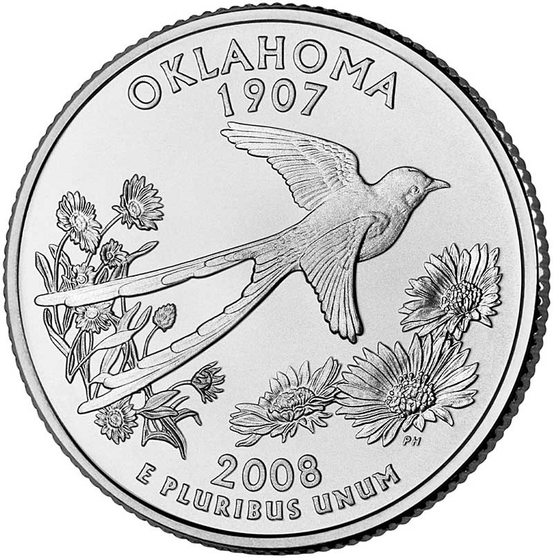 Quarter Dollar 2008 D USA UNC Oklahoma