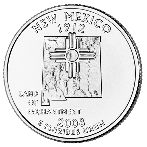 Quarter Dollar 2008 D USA UNC New Mexico