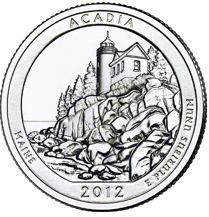 Quarter Dollar 2012 D USA UNC Acadia