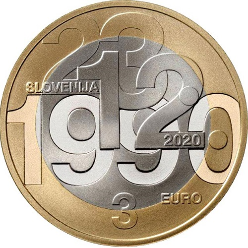 3 euro 2020 Slovinsko cc.UNC plebiscite on sovereignty