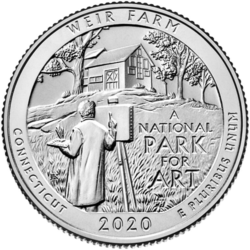 Quarter Dollar 2020 D USA UNC Weir Farm