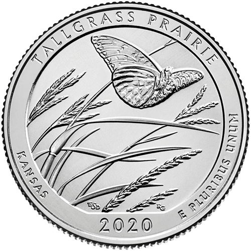 Quarter Dollar 2020 P USA UNC Tallgrass Prairie