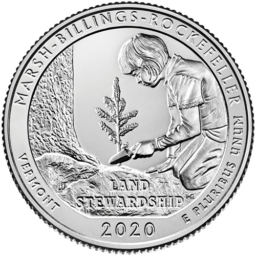 Quarter Dollar 2020 P USA UNC Marsh-Billings-Rockefeller