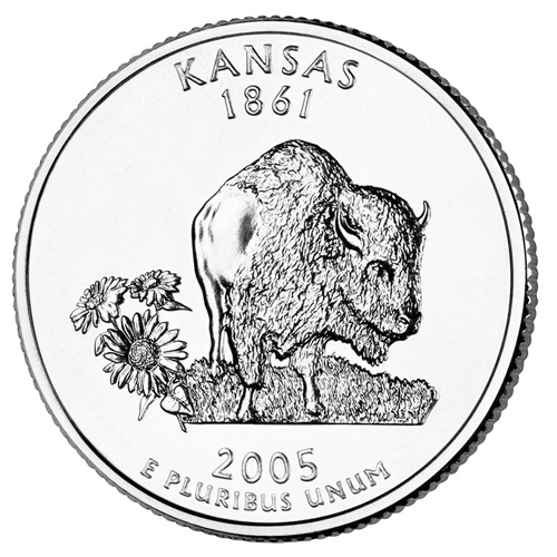 Quarter Dollar 2005 D USA UNC Kansas
