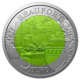 "5 EURO 2013 Luxembursko PROOF "" CASTLE OF BEAUFORT "" NIOB"