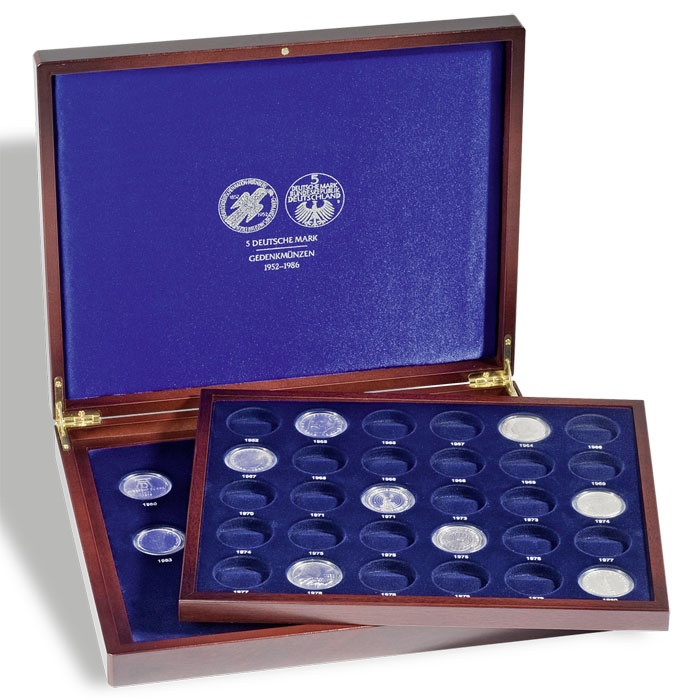 Presentation Case VOLTERRA DUO de Luxe, for 43 5-DM-coins in capsules, printing on cover (HMK2T5DMBL)
